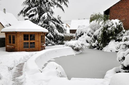 Schnee auf dem Teich